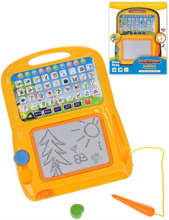 Tablet dětský vzdělávací na baterie magická tabulka kreslicí 2v1 Zvuk