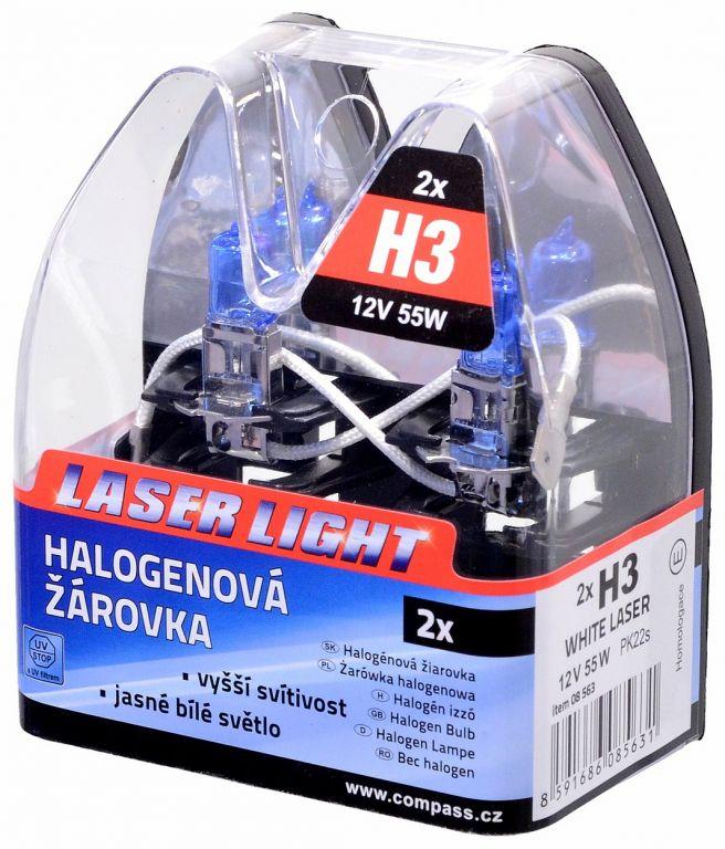 Žárovka 12V, H3 55W Pk22s WHITE LASER - 2ks