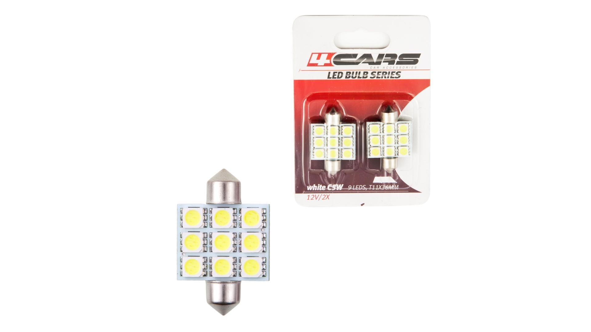 4CARS LED žárovka 9LED 12V Festoon 5050SMD T11x36mm