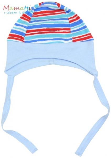 Čepička na zavazování Mamatti - ZEBRA - sv. modrá/barevné proužky - 68 (4-6m)