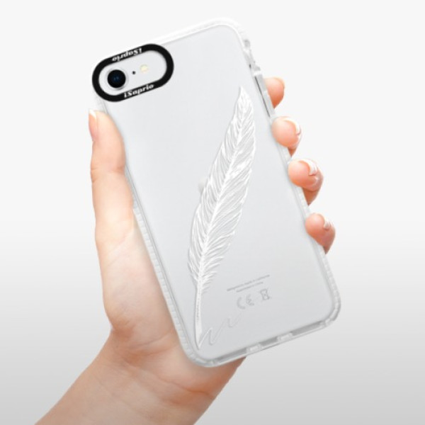 Silikonové pouzdro Bumper iSaprio - Writing By Feather - white - iPhone SE 2020