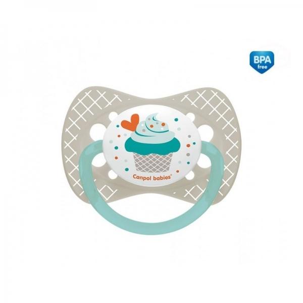 Dudlík symetrický Cupcake 18m+ C - šedý - 18m+