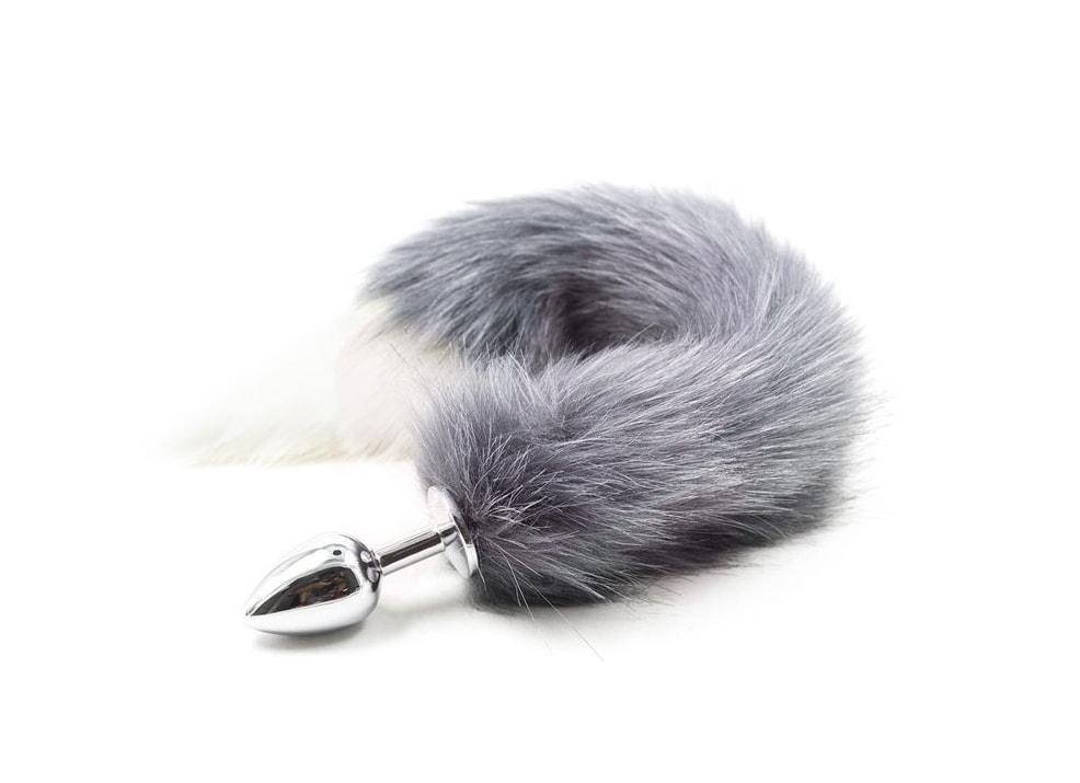 Kovový anální kolík s liščím ocáskem, šedý