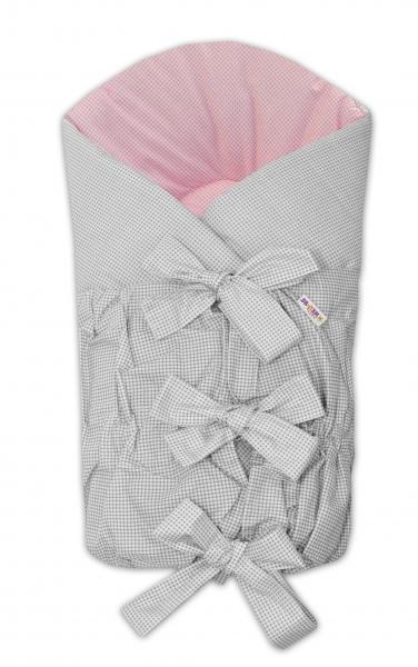 Zavinovačka šněrovací 75x75cm - šedá/růžová - jemná kostička