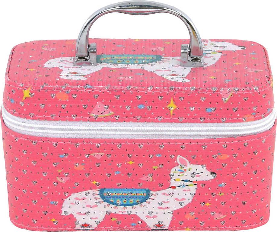 Kufřík dětský kosmetický lama se zrcadlem na zip růžový pro holčičky