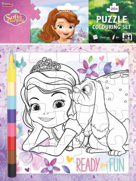 JIRI MODELS Omalovánkové puzzle set s voskovkami Disney Sofie První