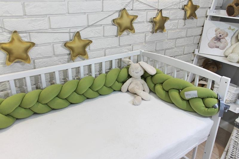 Mantinel Baby Nellys pletený cop - zelený/oliva
