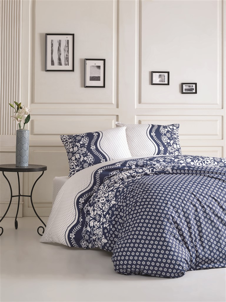 Povlečení francouzské bavlna 200x200,70x90 Dafne blue, Výběr zapínání: