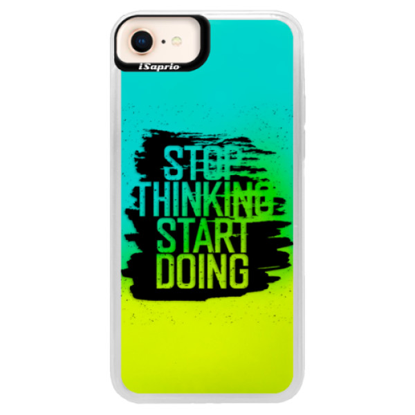 Neonové pouzdro Blue iSaprio - Start Doing - black - iPhone 8