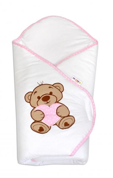 Zavinovačka s výšivkou Baby Nellys ®- Medvídek se srdíčkem - růžový lem