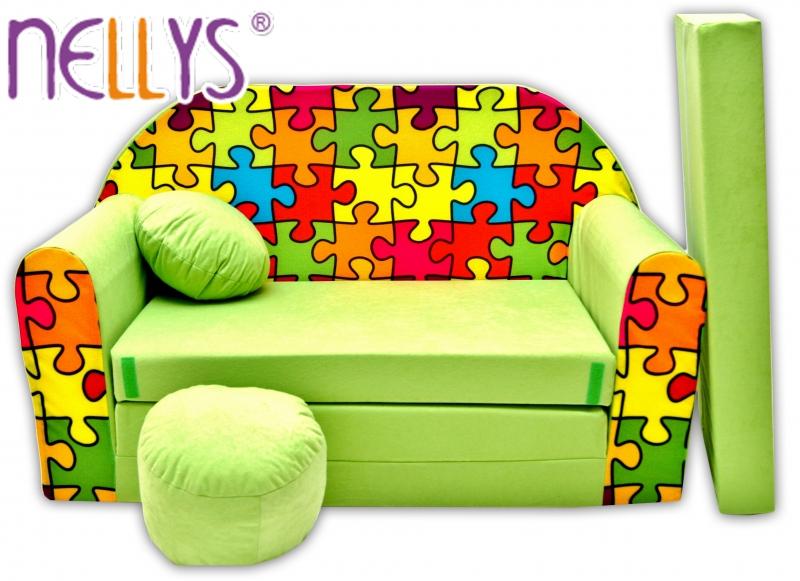 Rozkládací dětská pohovka Nellys ® 76R - Puzzle v zelené
