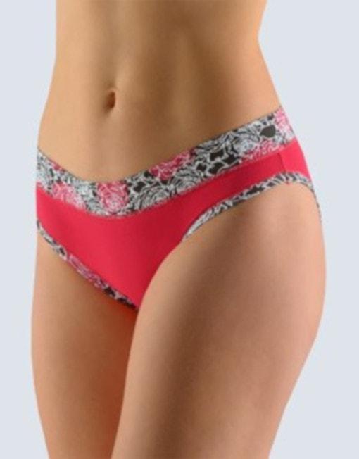 GINA dámské kalhotky bokové se širokým bokem, šité, s potiskem Disco 11 16105P - třešňová černá - 34/36