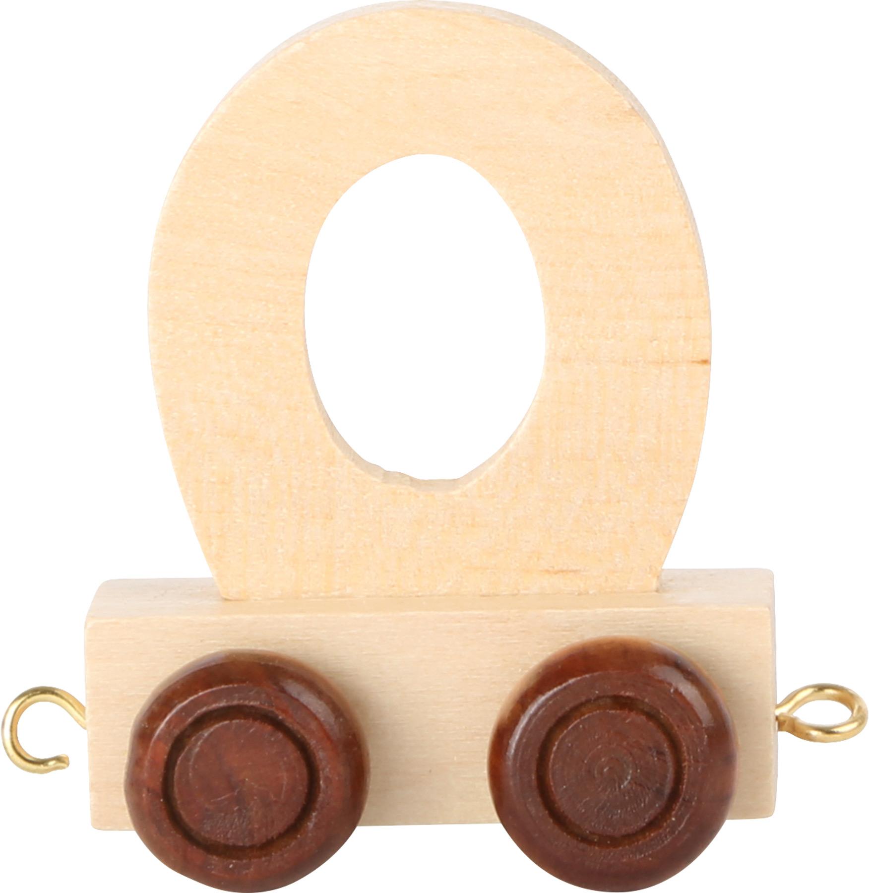 Dřevěný vláček vláčkodráhy abeceda písmeno O