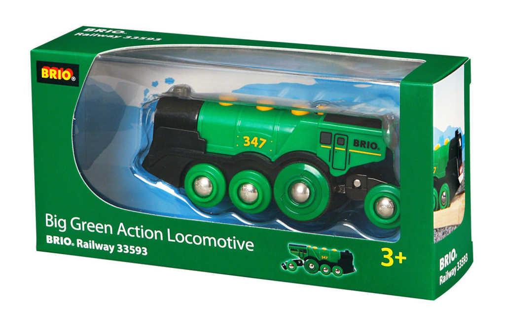 BRIO Lokomotiva elektrická zelená na baterie doplněk k vláčkodráze Světlo Zvuk