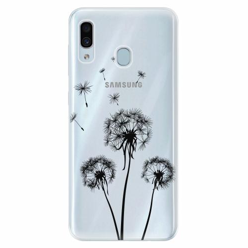 Silikonové pouzdro iSaprio - Three Dandelions - black - Samsung Galaxy A30