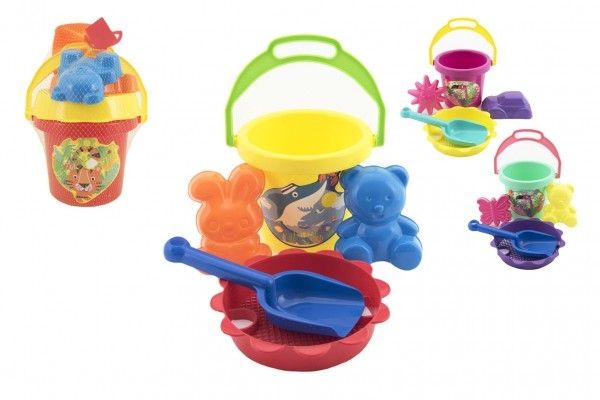 Sada na písek - kbelík, sítko, lopatka, 2 bábovky plast asst 4 barvy v síťce 13x26x13
