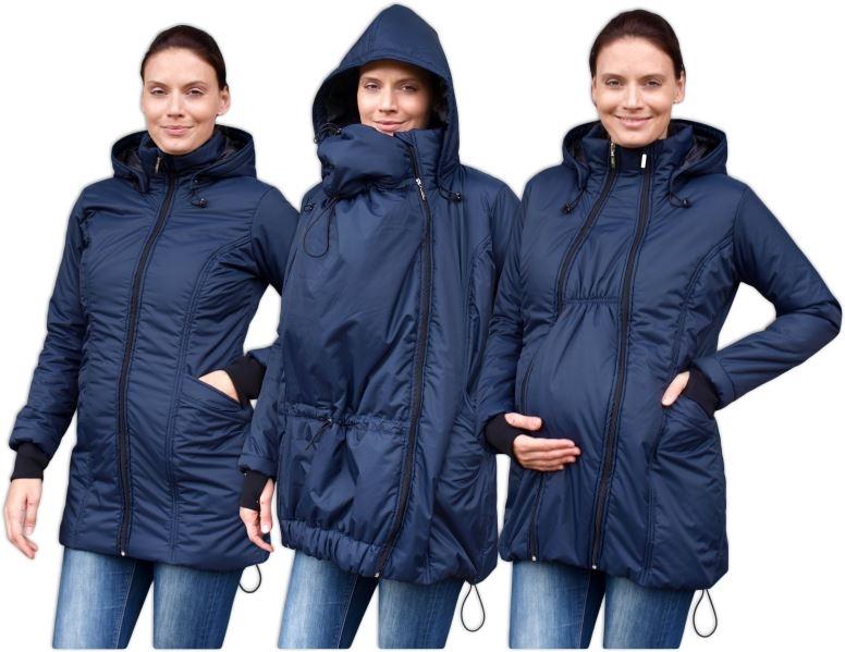 Zimní bunda pro těhotné/nosící - vyteplená, tm.