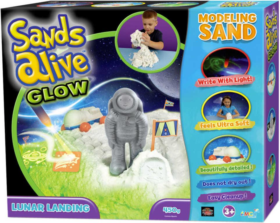 Písek magický 450g Sands Alive Glow Přistání na měsíci set s doplňky svítí ve tmě