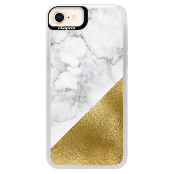 Neonové pouzdro Blue iSaprio - Gold and WH Marble - iPhone 8