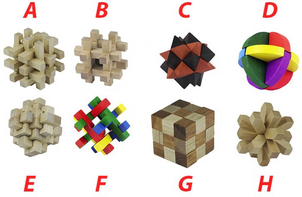 DŘEVO Hlavolam dřevěný 8 druhů Dárkové balení