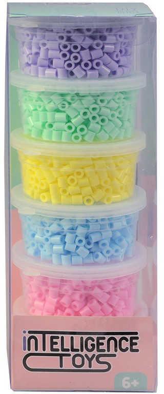 Korálky plastové k navlékání 6x 500ks pastelové barvy v krabičce
