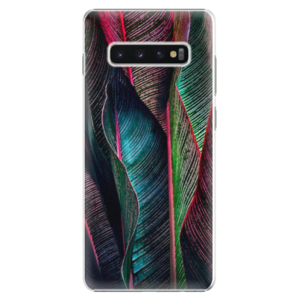 Plastové pouzdro iSaprio - Black Leaves - Samsung Galaxy S10+