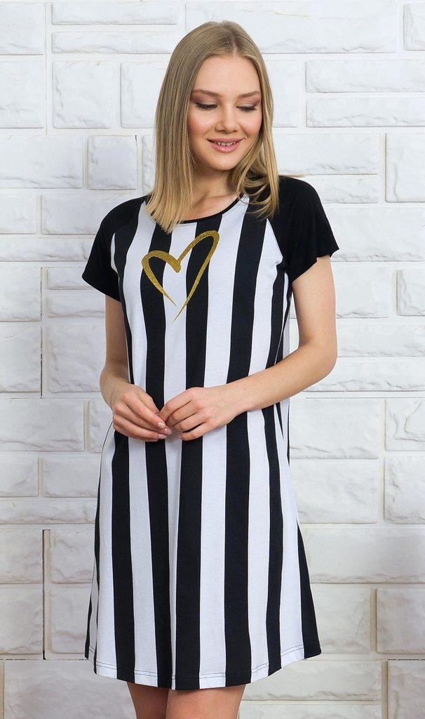 Dámská noční košile s krátkým rukávem Pruhy - černá