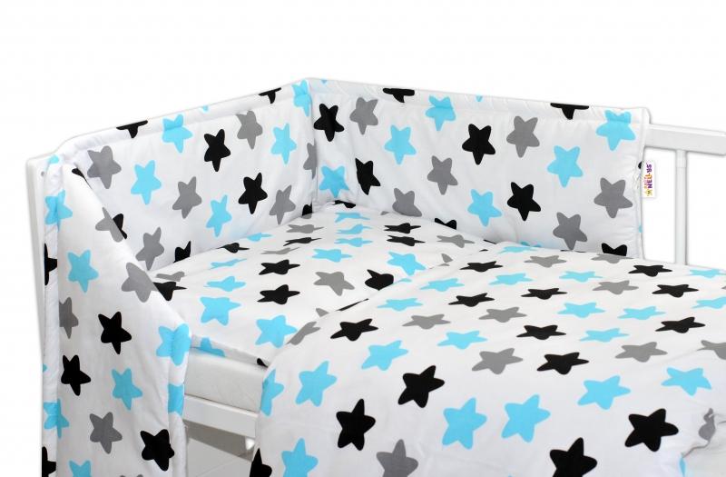 Mantinel s povlečením 135x100 - Barevné hvězdičky - modré - 135x100