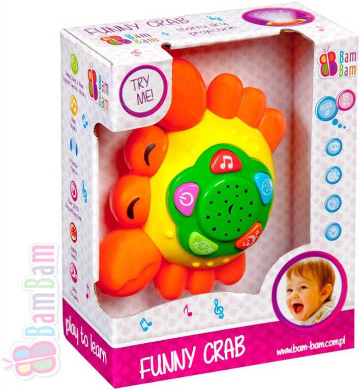 ET BAM BAM Krab dětský baby projektor s ukolébavkou hvězdná obloha Zvuk