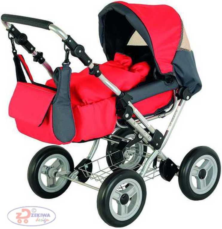 ZEKIWA Kočárek WIX červený kombinovaný pro panenku miminko
