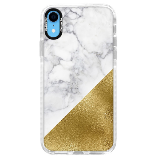 Silikonové pouzdro Bumper iSaprio - Gold and WH Marble - iPhone XR