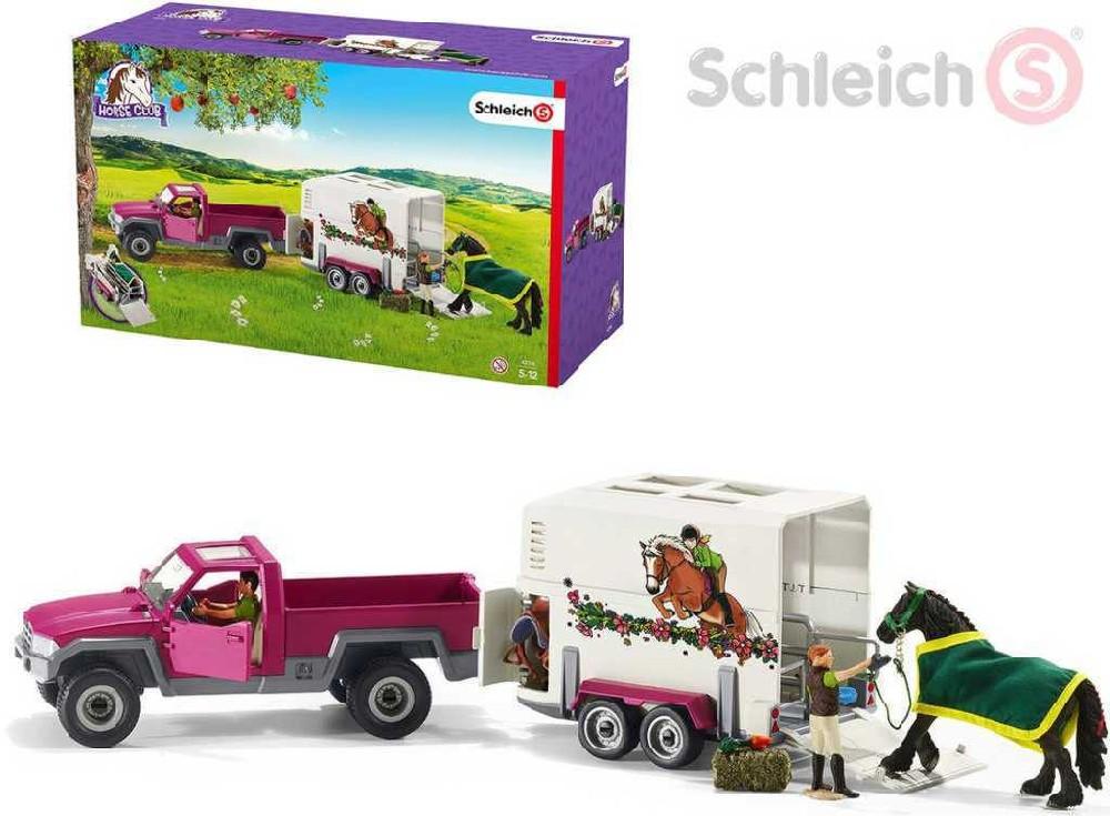 SCHLEICH Auto pickup s koněm + 2 figurky s doplňky set 14ks v krabici
