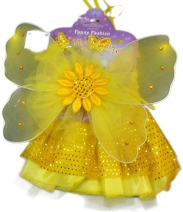 KARNEVAL Šaty žluté princezna s křídly slunečnice *KARNEVALOVÝ KOSTÝM*