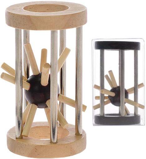HRA Hlavolam ježek v kleci 8 cm kov + dřevo *DŘEVĚNÉ HRAČKY*