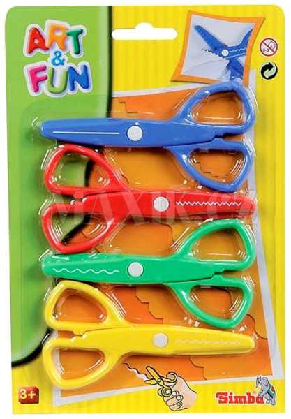 SIMBA A+F Sada 4 ks kreativní barevné nůžky na kartě