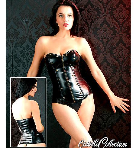 Sexy černý korzet na zip v imitaci kůže Electra (S)