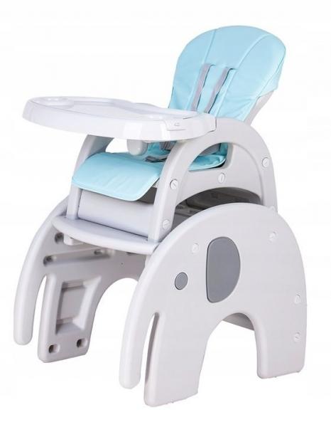 Eco toys Jídelní stoleček 3v1 Slon, 2019 - šedý, sv. modrý