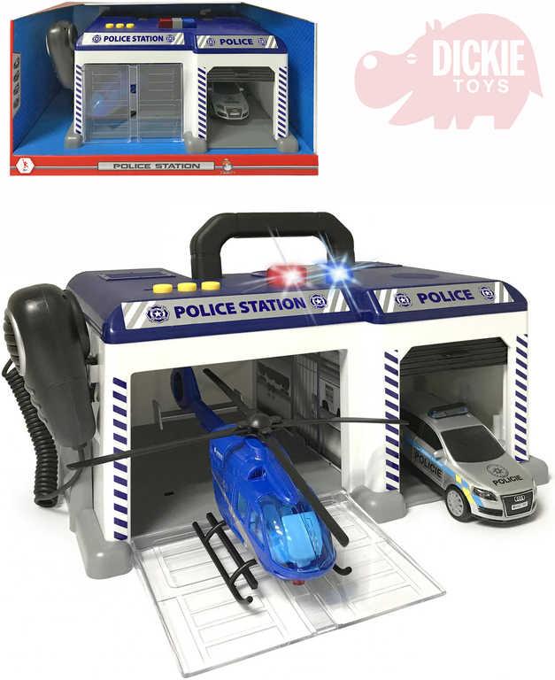 DICKIE Stanice policejní set vrtulník s autem a mikrofonem na baterie Světlo Zvuk