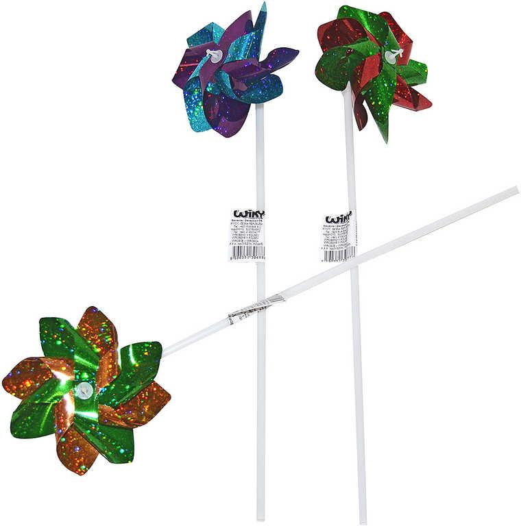 Větrník klasický růžice s třpytkami plastová tyčka 3 barvy