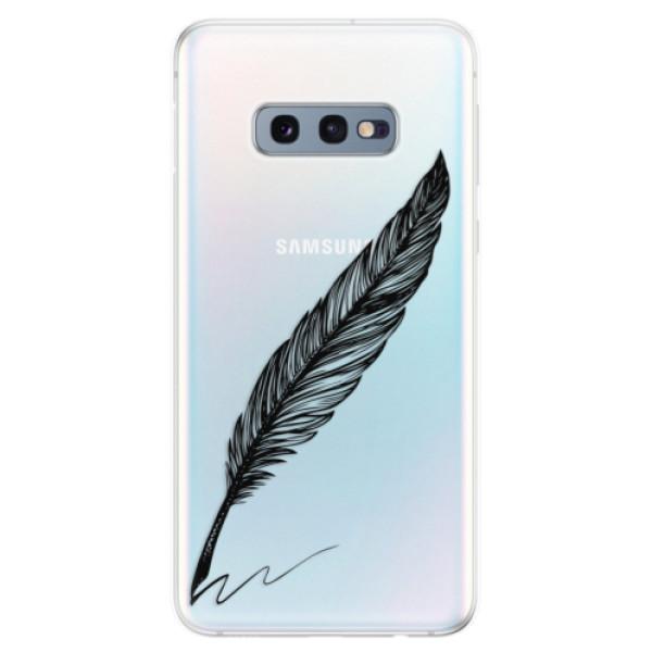 Odolné silikonové pouzdro iSaprio - Writing By Feather - black - Samsung Galaxy S10e