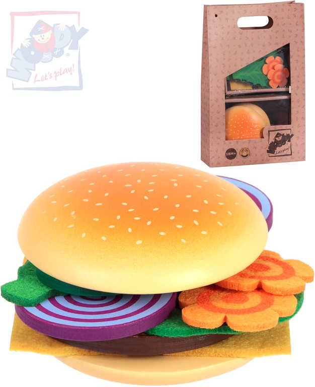 WOODY DŘEVO Sada výroba hamburgeru dětské makety potravin v taštičce