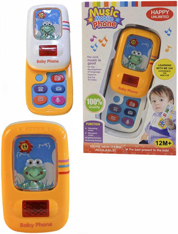 Telefon dětský výsuvný tlačítkový mobil na baterie plast 2 barvy