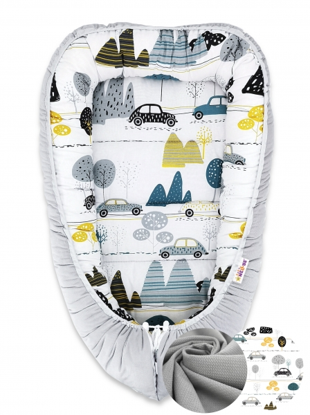 oboustranne-hnizdecko-baby-nellys-velvet-55x75cm-auta-v-aleji-sedy-velvet-auta-zelena