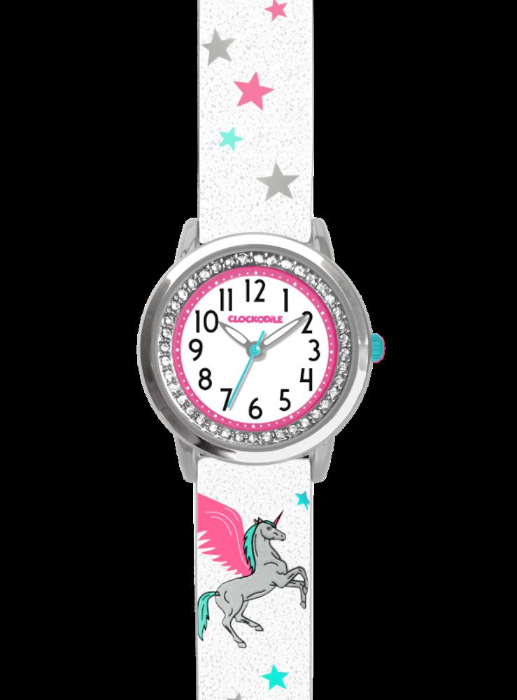 Bílé třpytivé dívčí dětské hodinky s jednorožcem a kamínky CLOCKODILE UNICORN
