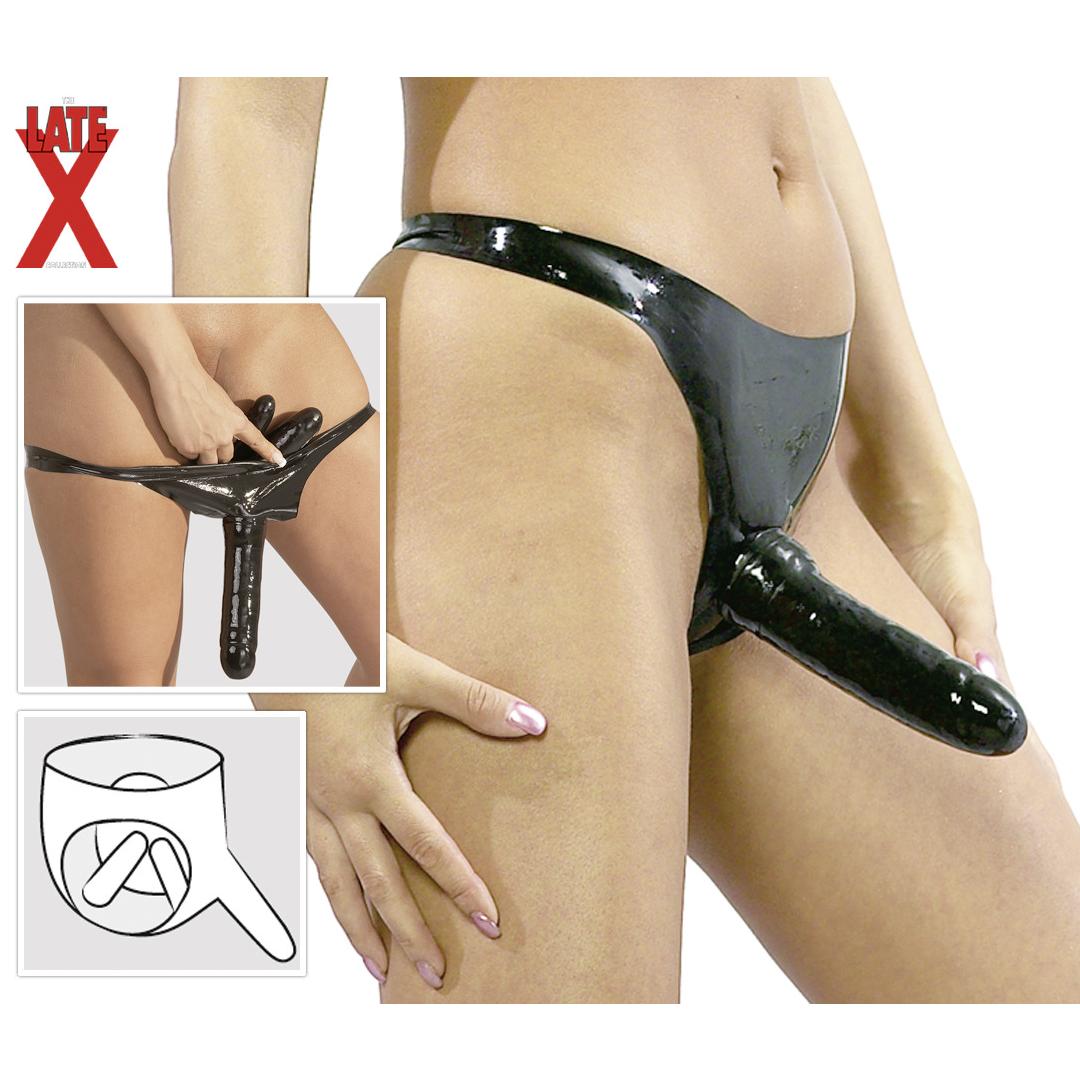 Latexové kalhotky s análním, vaginálním a vnějším masturbátorem