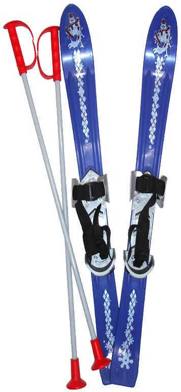 PLASTKON Lyže dětské Baby Ski 90cm carvingové Modré s vázáním plast