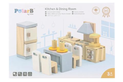 Dřevěná kuchyň a jídelna