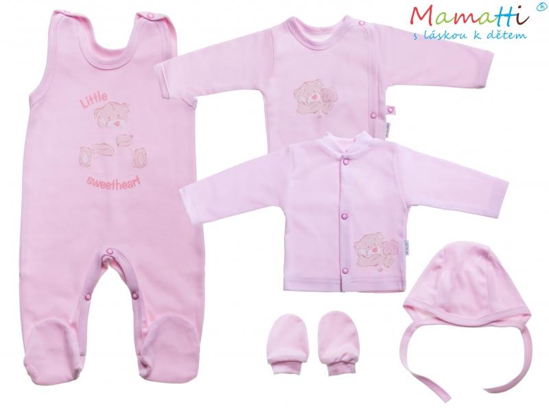 Souprava do porodnice v krabičce Mamatti - LITTLE SWEET HEART, růžová - 62 (2-3m)