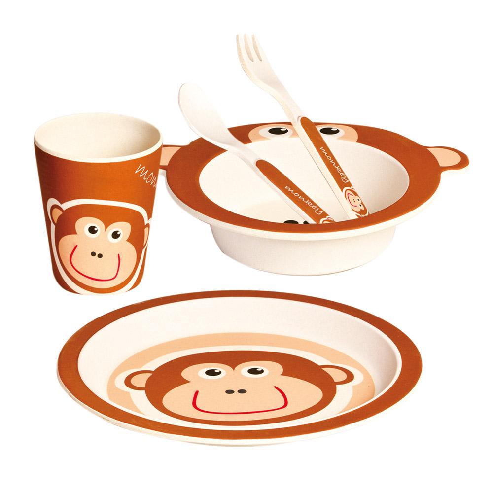 Dětské nádobí z bambusu, set, 5 dílů, Opička