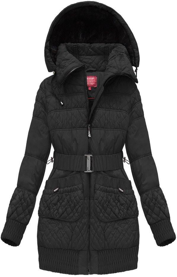 Černá dámská prošívaná bunda s páskem (J6311W)